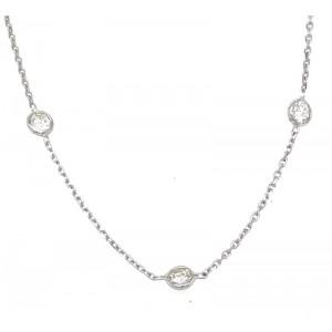 14kt White Gold Three-Diamond Station Necklace
