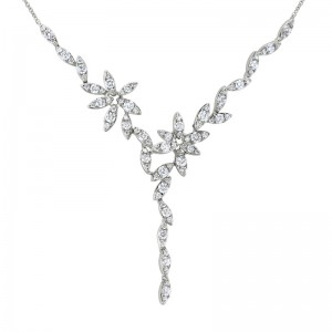 """14kt White Gold And Diamond Leaf-Motif """"Y"""" Necklace"""
