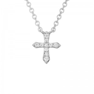 14kt White Gold Small Diamond Cross Necklace