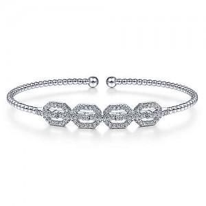 "Gabriel & Co. 14kt White Gold And Diamond ""Bujukan"" Cuff Bracelet"