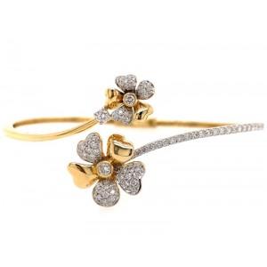 18kt Yellow Gold Floral Diamond Bangle Bracelet