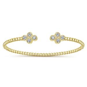 "Gabriel & Co. 14kt Yellow  Gold And Diamond ""Bujukan"" Cuff Bracelet"