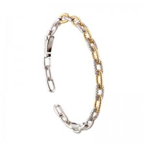 18kt Two-tone Twist Link Diamond Bangle Bracelet