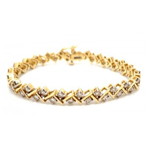 Estate 14kt Yellow Gold Zig Zag Diamond Bracelet