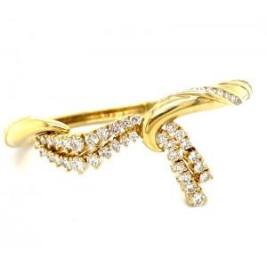 Estate 14kt Yellow Diamond Ribbon Bangle By Jose Hess