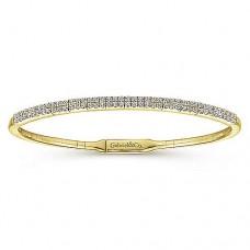 Gabriel & Co. 14kt Yellow Gold Double-Row Diamond Bangle Bracelet