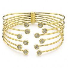 Gabriel & Co. 14kt Yellow Gold And Diamond Five-strand Cuff Bracelet