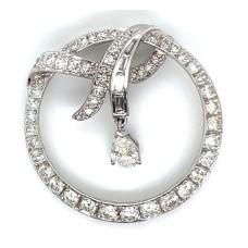 Estate Platinum Diamond Circle Ribbon Brooch