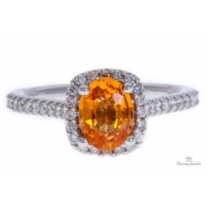 Fana 14kt White Gold Spessartine Garnet And Diamond Ring