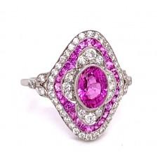 One Platinum Pink Sapphire And Diamond Ring