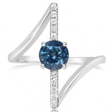 Parle 14kt White Gold Montana Sapphire And Diamond Ring