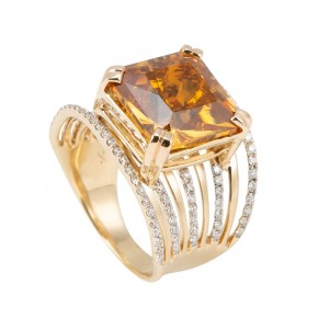 14kt Yellow Gold Wide Concave Citrine And Diamond Ring