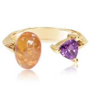Parle 14kt Yellow Gold Orange And Purple Garnet Ring