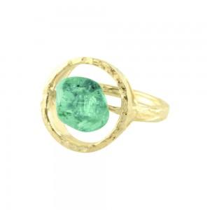 Parle 14kt Yellow Gold Mint Garnet Ring