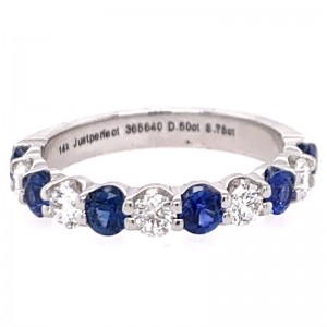 14kt White Gold Eleven-stone Sapphire And Diamond Band Ring