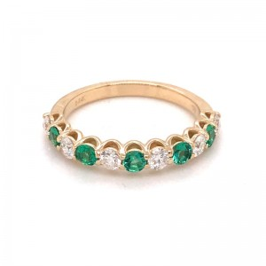14kt Yellow Gold Emerald And Diamond Band Ring