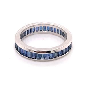 14kt White Gold Sapphire Baguette Eternity Band Ring
