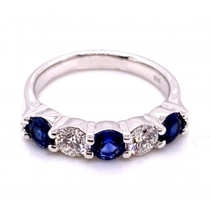 14kt White Gold Five-stone Sapphire And Diamond Ring