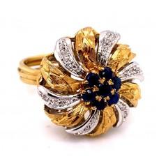 Estate 18kt Two-tone Gold Starburst Sapphire And Diamond Dinner Ring