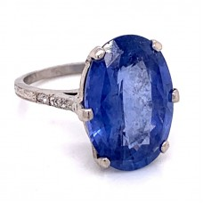 Estate 14kt White Gold Oval Sapphire And Diamond Ring