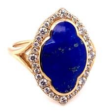 Kabana 14kt Yellow Gold Lapis And Diamond Ring