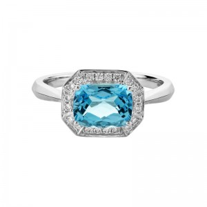 14kt White Gold Blue Topaz And Diamond Halo Ring