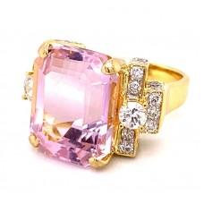 Estate 18kt Yellow Gold Emerald Cut Kunzite And Diamond