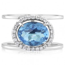 Parle 14kt White Gold Blue Topaz And Diamond Ring