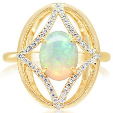 Parle 14kt Yellow Gold Australian Opal And Diamond Ring