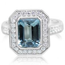 Parle 14kt White Gold Aquamarine And Diamond Ring