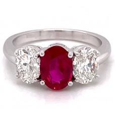 Platinum Oval Burmese Ruby And Diamonds Three-stone Ring