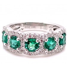 18kt White Gold Emerald And Diamond Halos Ring