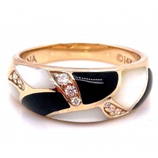 Kabana 14kt Yellow Gold Black Onyx, Mother-of-pearl And Diamond Ring