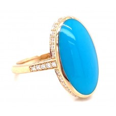 Kabana 14kt Yellow Gold Turquoise And Diamond Ring