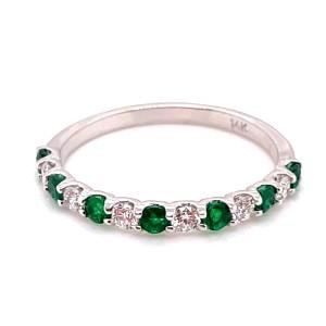 14kt White Gold Emerald And Diamond Thirteen-stone Band Ring
