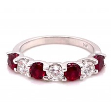 14kt White Gold Ruby And Diamond Seven-stone Band Ring