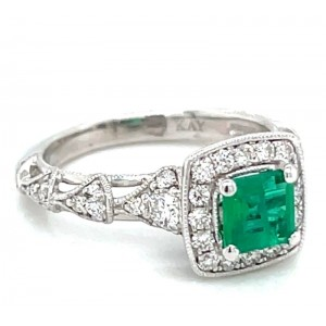 Estate 14kt White Gold Emerald Halo Diamond Ring
