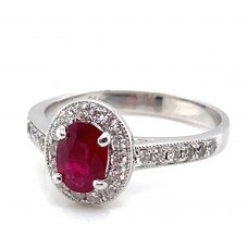 Estate 14kt White Gold Ruby And Diamond Halo Ring