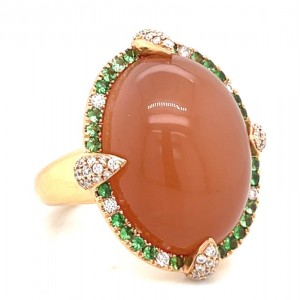 Christophe Danhier 18kt Rose Gold Moonstone, Tsavorite Garnet And Diamond Ring