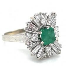 Estate 18kt White Gold Emerald Baguette And Round Diamond Ballerina Ring