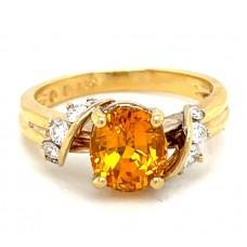Estate 18kt Yellow Gold Orange Sapphire And Diamond Ring