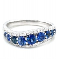 Estate 18kt White Gold Sapphire And Diamond Wave Ring