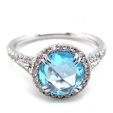 Christophe Danhier 18kt White Gold Blue Topaz And Diamond Ring