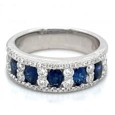 18kt White Gold Sapphire And Diamond Ladder-design Ring