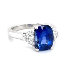 Platinum Sapphire And Diamonds Three-Stone Ring