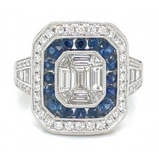 18kt White Gold Diamond And Sapphire Dinner Ring