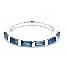 14kt White Gold Baguette Sapphire Part Way Band Ring