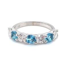 14kt White Gold Diamond And Blue Topaz Seven-Stone Band Ring
