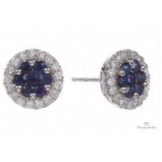 Fana 14kt White Gold Sapphire And Diamond Halo Earrings