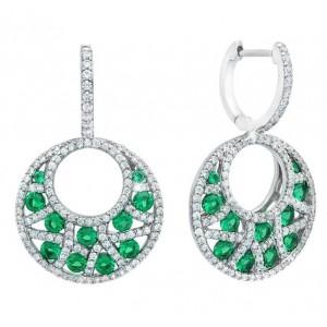 Fana 14kt White Gold Emerald And Diamond Drop Earrings